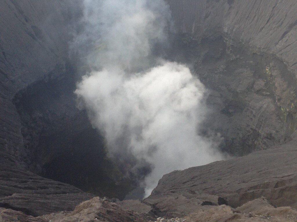 Peering inside Mount Bromo's crater